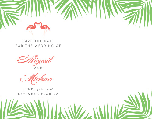 Announce your carefree destination wedding with the Tropical Flamingo Save-the-Date Cards.