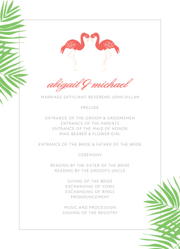 Layout the details for your carefree destination wedding with the Tropical Flamingo Wedding Programs.