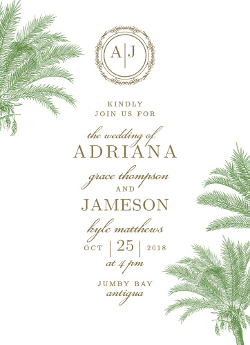 Finely drawn palms frame the text of the Caribbean Palm Wedding Invitation Suite.