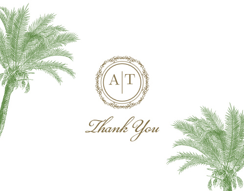 A beautifully ornate circle holds your monogram on the Caribbean Palm Thank You Cards.