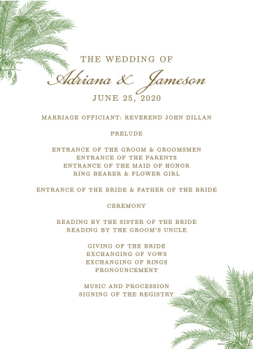 Finely drawn palms grace the corners of the Caribbean Palm Wedding Programs.