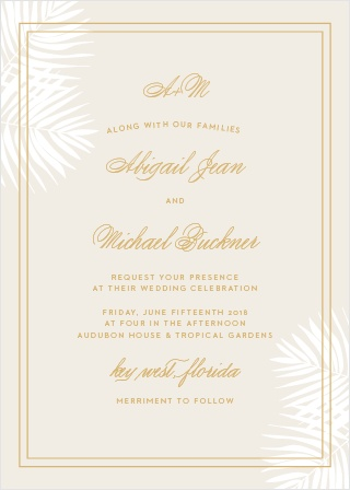 Delicate palm fronds peek from the corners of the Palm Beach Foil Wedding Invitations.