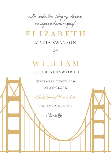 Prepare guests for your California wedding with the Golden Gate Save-the-Date Magnets.