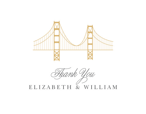 Thank the friends and family who attended your California Wedding with the Golden Gate Foil Thank You Cards.