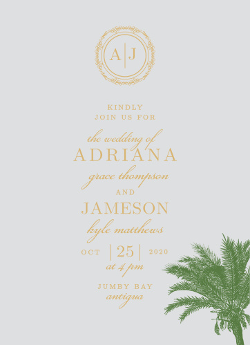 Finely drawn palms and gold or silver foil accent the text of the Caribbean Palm Foil Wedding Invitation Suite.