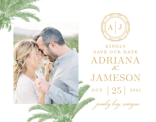 Finely drawn palms and gold or silver foil accent your photo on the Caribbean Palm Foil Save-the-Date Magnets.