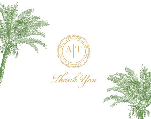 A beautifully ornate circle in gold or silver foil holds your monogram on the Caribbean Palm Foil Thank You Cards.
