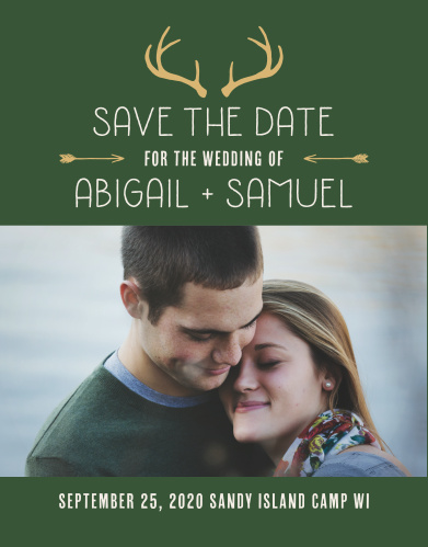 Trendy antlers and arrows accent the Summer Camp Weekend Save-the-Date Cards.