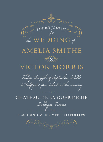 Regal swirls and embellishments accent the text on the Old World Winery Foil Wedding Invitations.