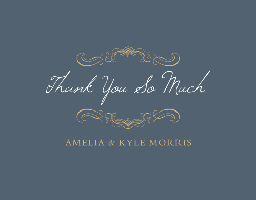 The Old World Winery Foil Thank You Cards express your gratitude with regal sophistication.