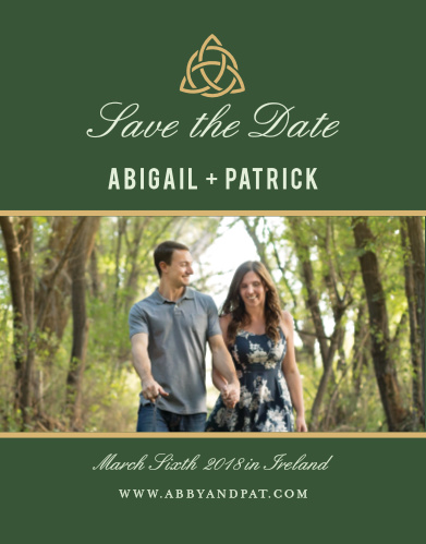 A woven knot gives the Celtic Dream Foil Save-the-Date Cards a timeless appeal.