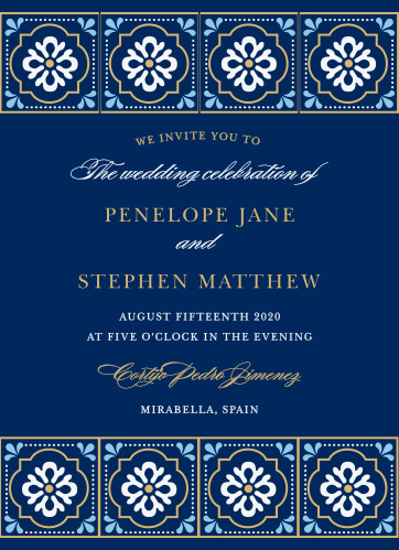Bright, stylized florals make a border at the top and bottom of the Spanish Tile Foil Wedding Invitations.