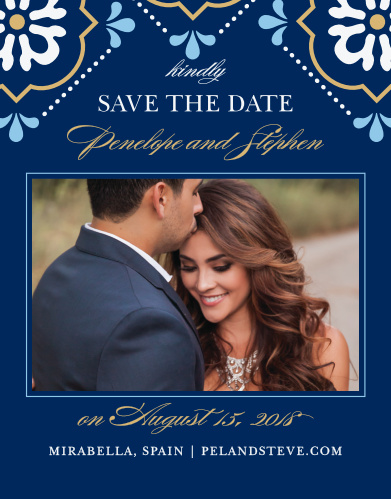 Stylized florals in bright colors and with gold or silver foil accents decorate the top of the Spanish Tile Foil Save-the-Date Magnets.
