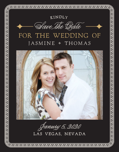 Announce your casino-themed wedding with the Lady Luck Foil Save-the-Date Cards.