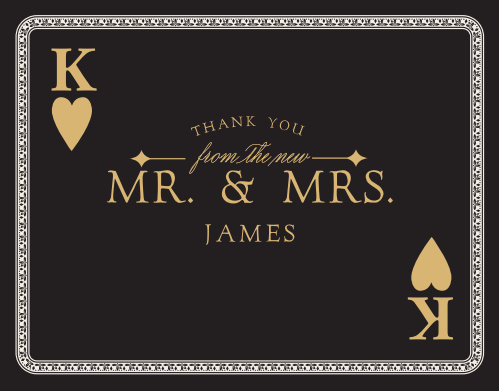 Finish your casino-themed wedding stationery with the Lady Luck Foil Thank You Cards.