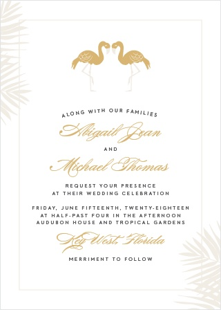 The Tropical Flamingo Foil Wedding Invitations' carefree design is perfect for a summer destination wedding.