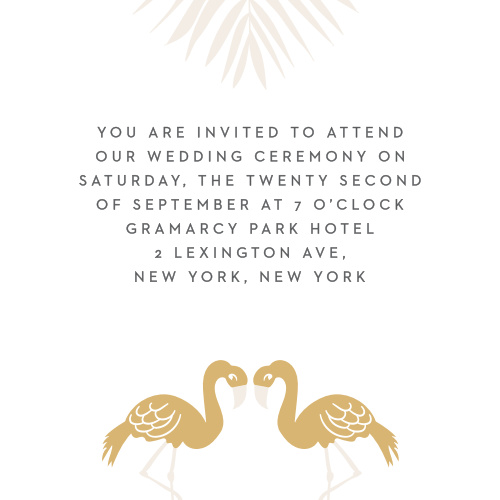The Tropical Flamingo Foil Ceremony Cards are small enclosure cards ideal for a carefree destination wedding.