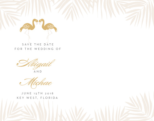 Announce your carefree destination wedding with the Tropical Flamingo Foil Save-the-Date Cards.