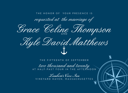 Invite friends and family to your sea-themed destination wedding with the Nautical Compass Wedding Invitations.