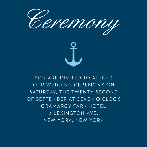 Give guests essential wedding day information with the Nautical Compass Ceremony Cards.