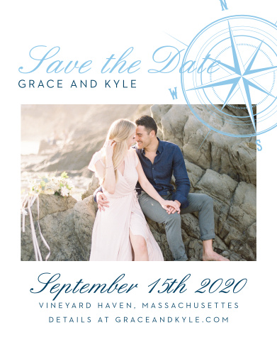 Reserve your spot on your guests' calendars with the Nautical Compass Save-the-Date Cards. This maritime design features a compass with a star center consistent with the Nautical Compass Wedding Invitation Suite. Put your names on the top in your choice of over 100 hand-picked fonts. Then add your engagement photo. Beneath this is your wedding date, location and wedding website. Personalize these save-the-dates with your choice of more than 160 custom colors.
