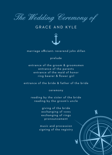 Organizing your ceremony is as easy as a sea breeze with the Nautical Compass Wedding Programs.