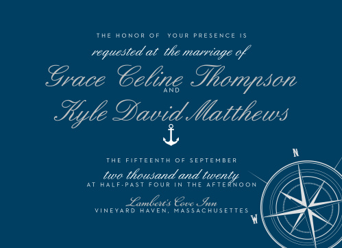 Invite friends and family to your sea-themed destination wedding with the Nautical Compass Foil Wedding Invitations.