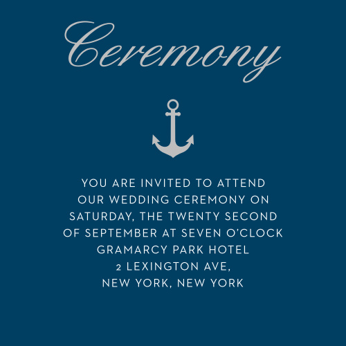 Give guests essential wedding day information with the Nautical Compass Foil Ceremony Cards.