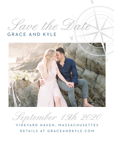 Reserve your spot on your guests' calendars with the Nautical Compass Foil Save-the-Date Magnets.