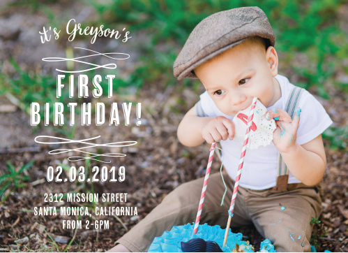 Invite friends and family to a trendy soirée with the Baby Urbanite First Birthday Invitations.