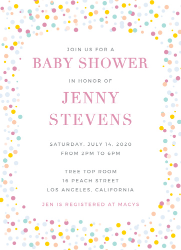 Colorful confetti frames the Dancing Dots Baby Shower Invitations.