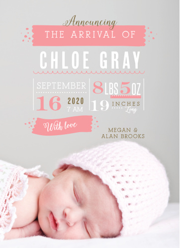 Your newborn child's photo is the backdrop to the Baby Stats Birth Announcements from the Love Vs Design Collection at Basic Invite.