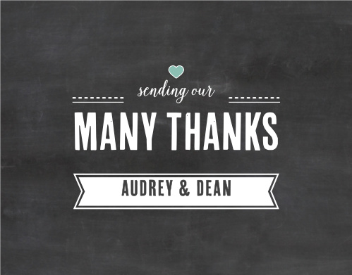 Send your gratitude with a card to match your invites with the Chalkboard Writing Thank You Cards.