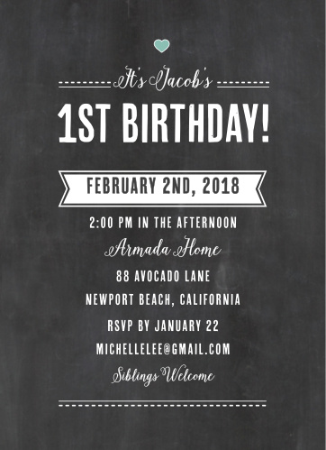 Invite friends and family to your child's first party with the Chalkboard Writing First Birthday Invitations.