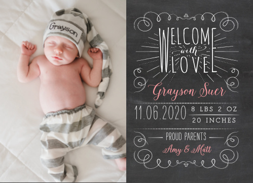 Share a photo of your new bundle of joy with the Chalkboard Love Baby Announcements.
