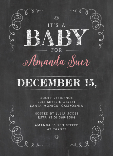 Whimsical, whirling lines frame the Chalkboard Love Baby Shower Invitations.