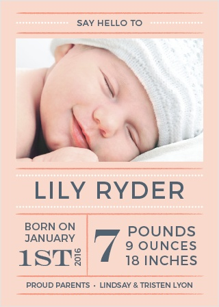 Introduce your little lady with the Dotted Lines Girl Birth Announcements from the Love Vs Design Collection at Basic Invite.