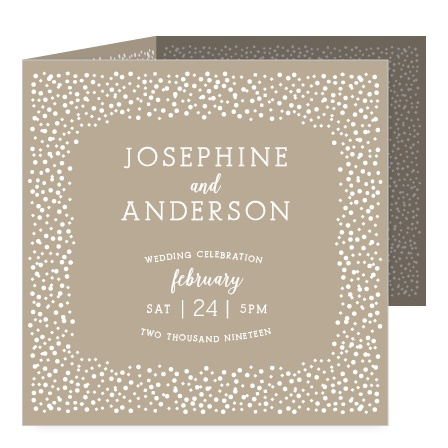 Whimsical dots frame your text on the front of the Confetti Dots Storybook Wedding Invitations.