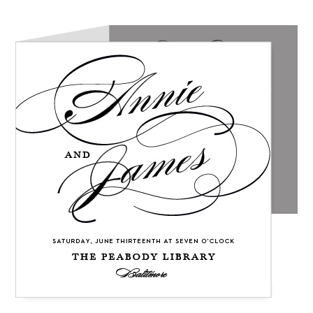 Your names with grand flourishments on the front of the Simplicity Storybook Wedding Invitations give them a sophisticated air.
