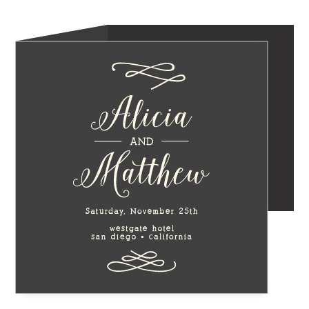 Your names are featured prominently in a fanciful font on the Whimsical Calligraphy Storybook Wedding Invitations.