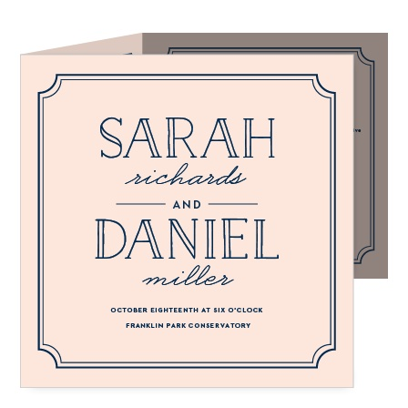 Sophistication and whimsy marry on the Type Frame Storybook Wedding Invitations.
