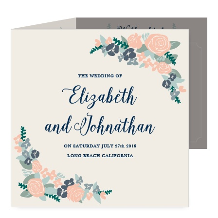 Share your beautiful love story with the Illustrated Corner Wreath Wedding Invitations.