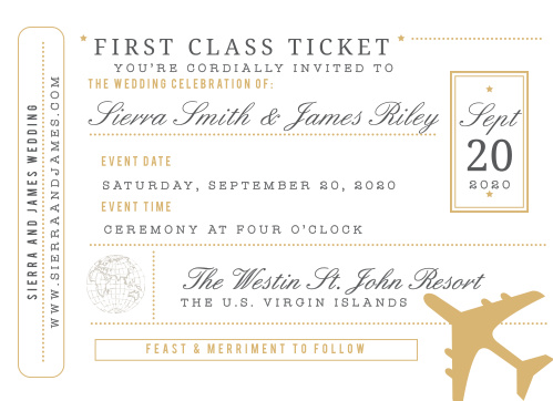 Give guests the ticket to your destination wedding with the Bon Voyage Foil Wedding Invitation Suite.