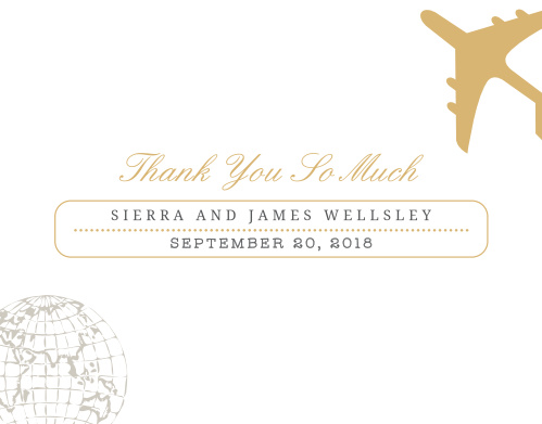 Finish your truly custom wedding stationery with the Bon Voyage Foil Thank You Cards.