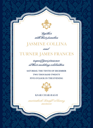 Rich details and opulent fonts give the Moroccan Frame Foil Wedding Invitations a luxurious feel.