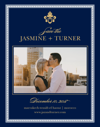 Rich details complement your engagement photo on the Moroccan Frame Foil Save-the-Date Cards.
