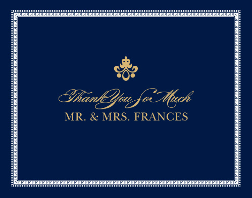 Finish your wedding stationery with the opulence of the Moroccan Frame Foil Thank You Cards.