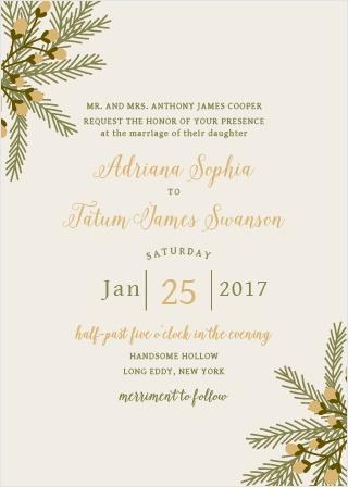 Pine Berries Foil Wedding Invitations