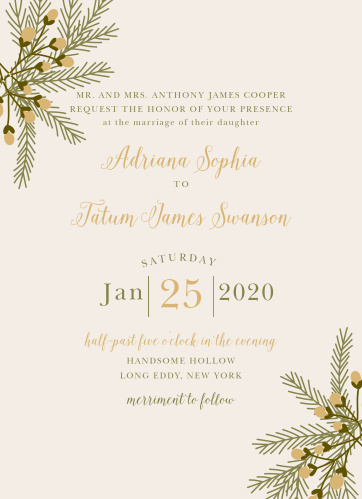 Create an invite to match your rustic winter wedding theme with the Pine Berries Foil Wedding Invitations.