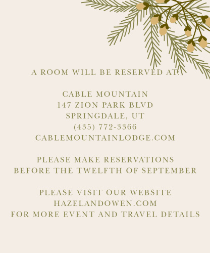 Pine boughs and a festive berry bunch adorn the top right corner of the Pine Berries Foil Accommodation Cards.